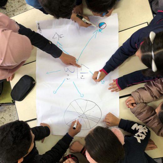Ryhmä oppilaita ratkaisee tehtävää piirissä lattialla.