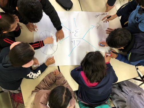 Lapset tekevät tehtäviä ryhmässä.