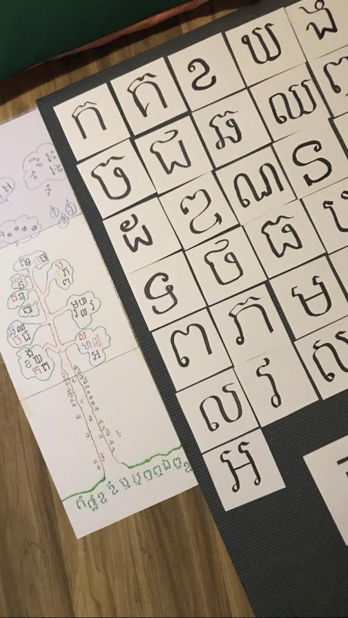 Khmerin kielisiä aakkosia.